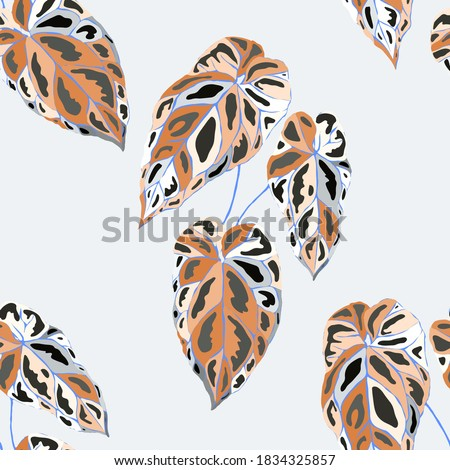Tropical pattern. Jungle exotic summer print. Summer tropical leaf. Tropical flower fashion pattern. Floral tropic illustration. Vector seamless pattern. Beautiful print with tropical leaves.
