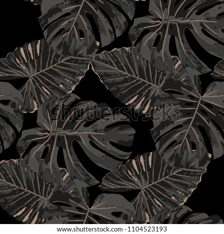 Tropical Pattern. Seamless Texture with Bright Hand Drawn Leaves of Monstera. Bright Rapport for Paper, Cloth, Fabric. Vector Seamless Background with Tropic Plants. Watercolor Effect.