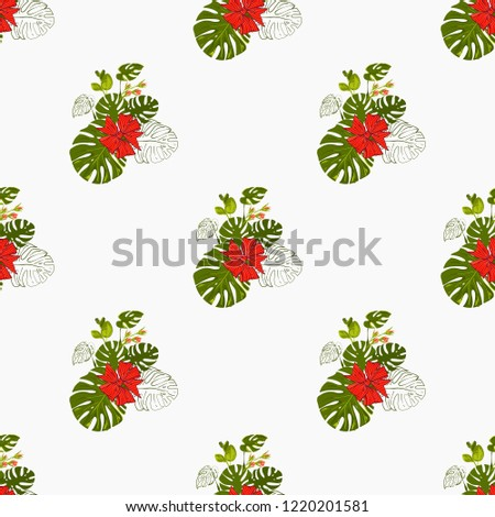 Tropical pattern with monstera leaves and Christmas red bow. Vector watercolor seamless background. Decoration on white backdrop. Hand drawn illustration.