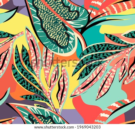 tropical pattern with multicolored hand drawn elements and funny background. leaves pattern