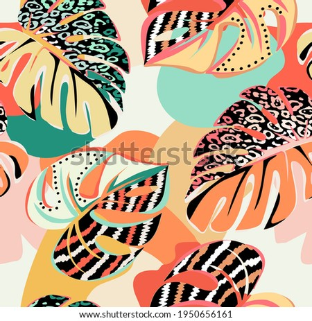 tropical pattern with multicolored hand drawn elements and funny background. Monstera pattern