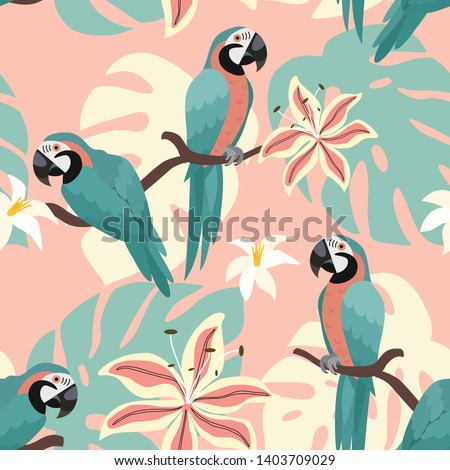 Tropical pattern with parrots and tropical leaves. Vector seamless texture. Trendy Illustration. Foto stock ©