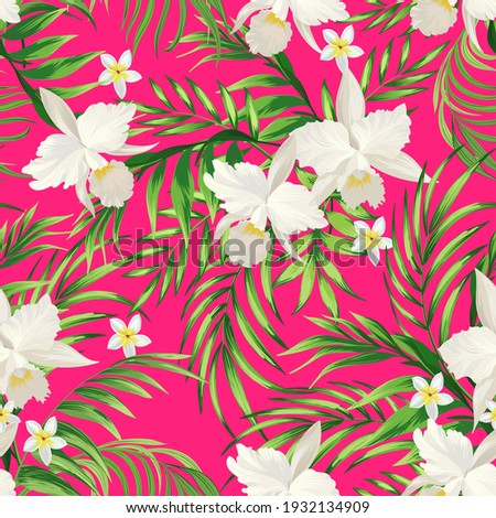 Tropical pattern with strelizia, hibiscus, palm leaves. Summer vector background for fabric, cover,print design.
