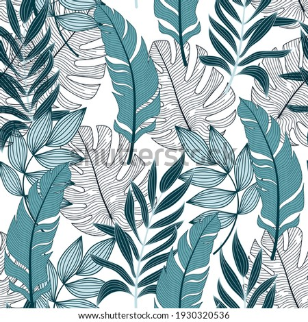 Tropical pattern with trendy plants and leaves on a delicate background. Beautiful exotic plants.  Exotic jungle wallpaper. Vintage pattern.