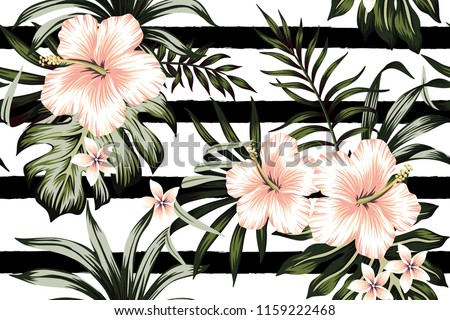 Tropical peach hibiscus and plumeria floral dark green palm leaves seamless pattern black and white striped background. Exotic jungle wallpaper.
