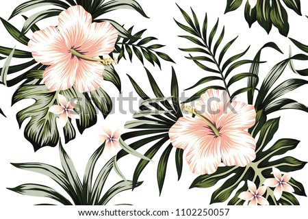 Tropical peach hibiscus and plumeria floral dark green palm leaves seamless pattern white background. Exotic wallpaper
