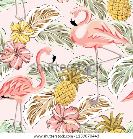 Tropical pink flamingo birds, pineapples, hibiscus flowers bouquets, palm leaves background. Vector seamless pattern. Jungle illustration. Exotic plants. Summer beach floral design. Paradise nature