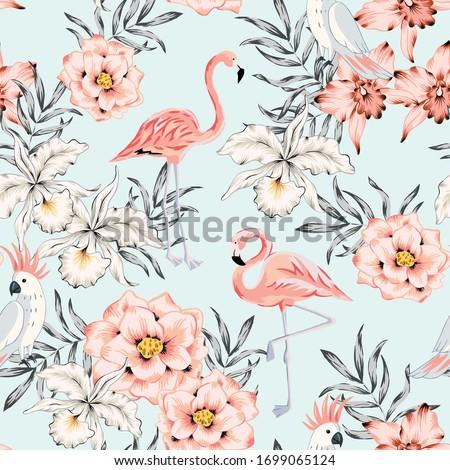 tropical pink flamingo  parrot