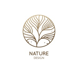 Tropical plant logo. Round emblem flower in a circle in linear style. Floral ornament. Organic design template. Vector abstract badge for design of flower shop, cosmetics, beauty, perfume, spa, yoga