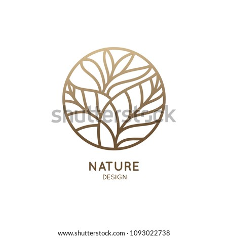 Tropical plant logo. Round emblem flower in a circle n linear style. Vector abstract badge for design of natural products, flower shop, cosmetics, ecology concepts, health, spa, yoga Center. #1093022738