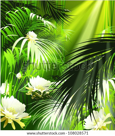 tropical plants and white flowers (vector plant jungle)