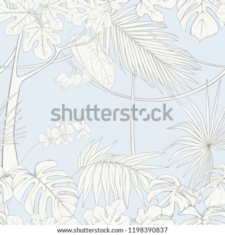 tropical plants and white