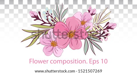 Tropical plants. Compositions of various twigs, leaves and pink flowers. For party festive invitation, decor. Spring Summer. flowers vector design bouquets.Floral wedding borders composition. EPS10