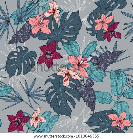 Tropical plants, flowers and leaves seamless pattern on a grey background. Vector illustration.