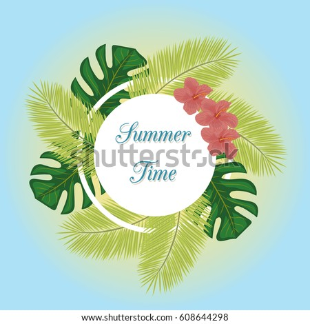 Tropical plants leaves and flowers frame on the light blue and yellow background.