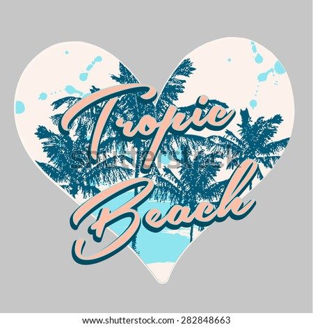 tropical print in heart shape