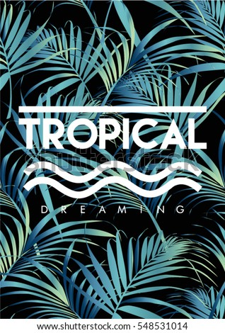 tropical print with text in