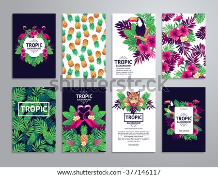 tropical printable set vector