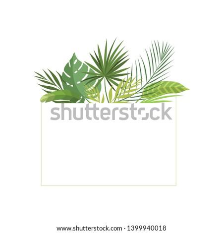 Tropical Rainforest Foliage Border, Poster, Wedding Invitation, Summer Greeting Card Design Element Vector Illustration