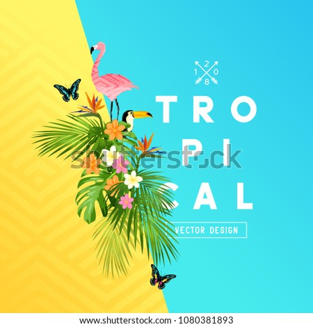 Tropical rainforest summer design with palm tree leaves, Plumerias, and tropical birds. vector illustration.