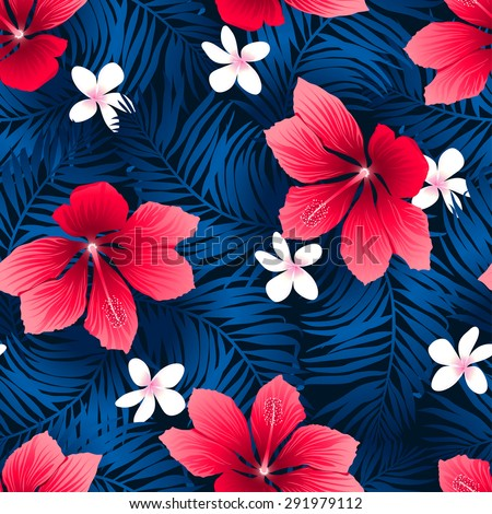 tropical red hibiscus flowers