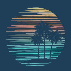 Tropical sea background with palm trees, island and sunset. Vector illustration.