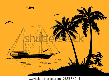 tropical sea landscape  palm