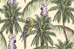 Tropical seamless floral pattern background with parrots, exotic birds, palm trees, leaves. Vector tree illustration, coconut palms. Vintage jungle wallpaper