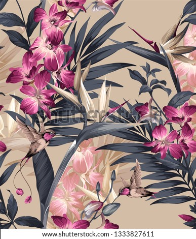 tropical seamless floral pattern. seamless pattern with orchids and colibri