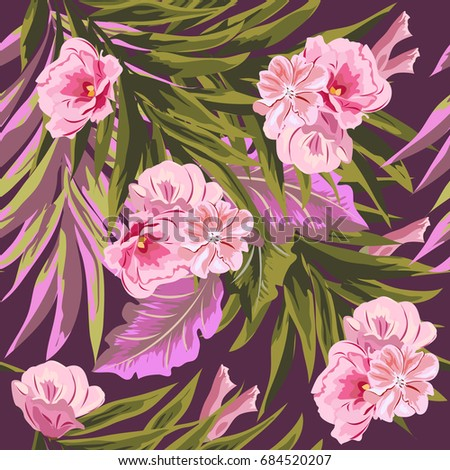 Tropical seamless floral pattern with leaves of palm tree and cute tropical seamless floral pattern with leaves of palm tree and cute pink flowers floral background mightylinksfo