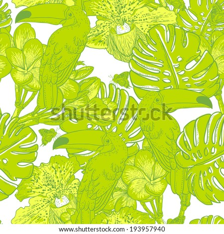 Tropical seamless green background with exotic flowers and Toucan