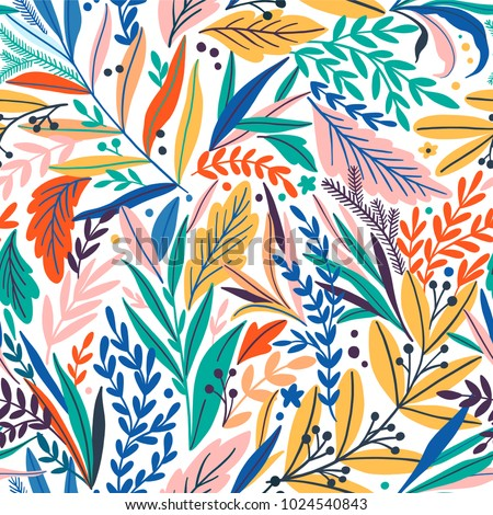Tropical seamless leaves pattern. Vector illustration - Shutterstock ID 1024540843