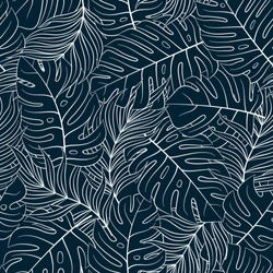 Tropical seamless natural pattern of exotic leaves. Vector floral background