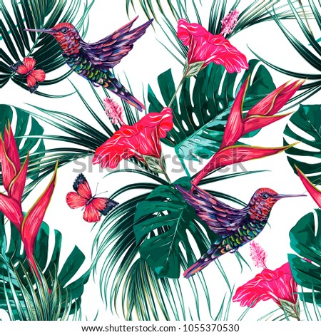 Tropical seamless pattern background with exotic flowers, hummingbirds, palm leaves, jungle leaf, hibiscus, bird of paradise flower, butterflies. Vector exotic summer background illustration