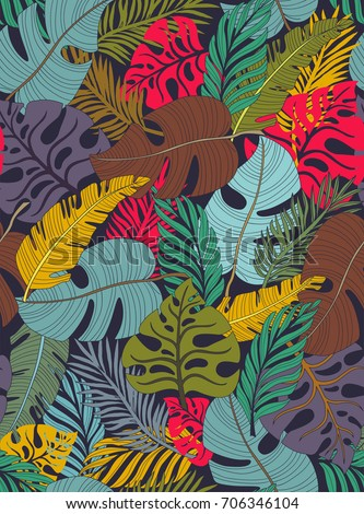 Tropical seamless pattern with a lot of palm leaves. Bright background. Autumn colored. Vector illustration.