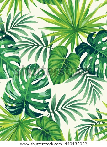 Royaltyfree Tropical Seamless Pattern With Exotic 60 Stock Impressive Tropical Leaves Pattern