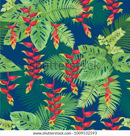 Tropical seamless pattern with false bird of paradise flower and leaf on blue background. Vector set of exotic tropical garden for wedding invitations, greeting card and fashion design.