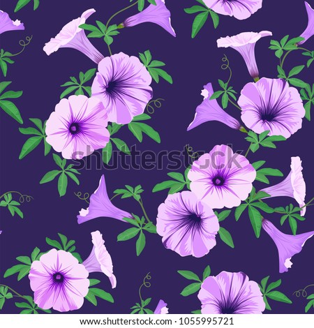 Tropical seamless pattern with morning glory flowers and leaves background. Vector set of exotic tropical garden for holiday invitations, greeting card and fashion design.
