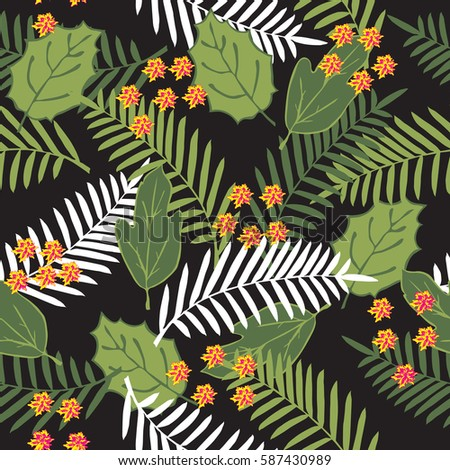 Tropical seamless pattern with palm leaves and flowers. Trendy colors for textile or book covers, manufacturing, wallpapers, print, gift wrap and scrapbooking.