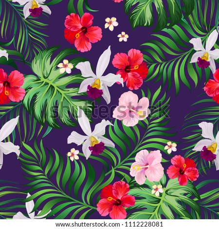 Tropical seamless pattern with palm leaves, hibiscus flwers and orchid. Vector jungle background.