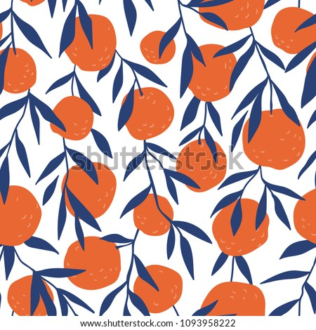 Tropical seamless pattern with red oranges. Fruit repeated background. Vector bright print for fabric or wallpaper.