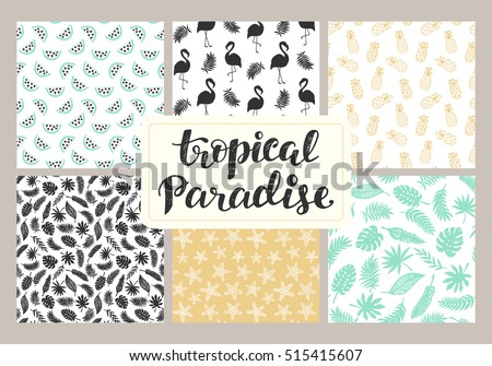 Tropical seamless patterns collection. Set of hawaiian plants, palm leaves, flamingo, pineapples, sea stars hand drawn doodles. Good for wallpaper, invitation cards, textile print. Vector illustration