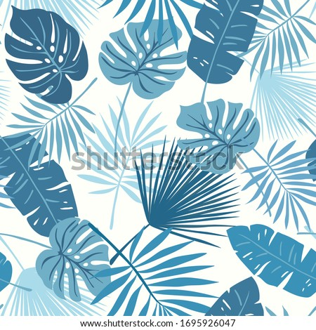 Tropical seamless repeat pattern with tonal blue green teal leaves of different shapes on a soft ivory cream vanilla background Stock fotó ©