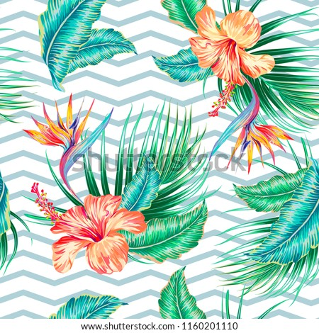 Tropical seamless vector pattern background with exotic flowers, palm leaves, jungle leaf, hibiscus, bird of paradise flower. Summer design for prints, textile. Abstract chevrons geometric texture
