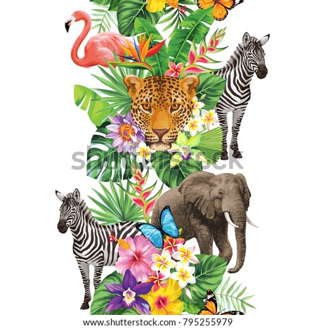 Tropical seamless vertical border with palm leaves, exotic flowers, flamingo, elephant and leopard on a white background. Vector illustration.