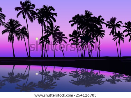 tropical seashore with palms in