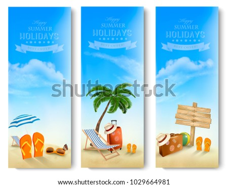 Tropical seaside with palms, a beach chair and a suitcase. Vacation bnners. Vector.