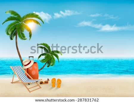 tropical seaside with palms  a