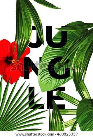 Tropical set exotic palm leaves and flower hibiscus flyer design template vector, leaflet banner cover presentation white background, layout in A4 size