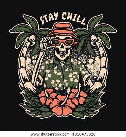 tropical skull with coconut tree and hibiscus. For t-shirts, stickers and other similar products.